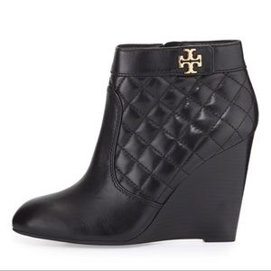 Tory Burch Leila Quilted Leather Wedge Booties